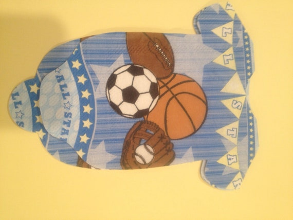 "Pack of 9 sports baby shower ""shirt"" paper napkins or banner decoration.  For an allstar baby shower or 1st birthday."
