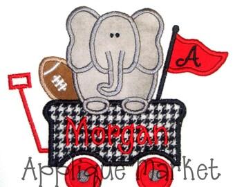 Machine Embroidery Design Applique Elephant Wagon INSTANT DOWNLOAD