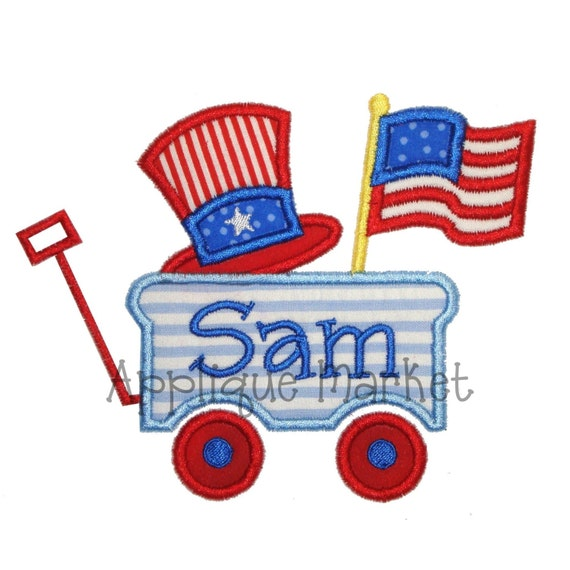 Machine Embroidery Design Applique 4th of July Wagon INSTANT DOWNLOAD