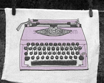 Purple pastel Typewriter old -Original Illustrate Drawing  Print transfer on Pillows, t-shirts, scrapbook, lampshades  ETC.v