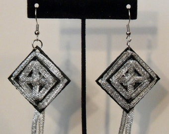 Plastic Canvas Earrings - Large Black Layered with Silver Ribbon