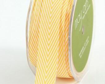 Yellow Chevron Twill Ribbon . 5 yards (15 feet) . 3/4 inch