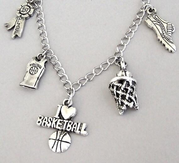 Basketball Charm Bracelet: Basketball Necklace Or Basketball Bracelet, Basketball