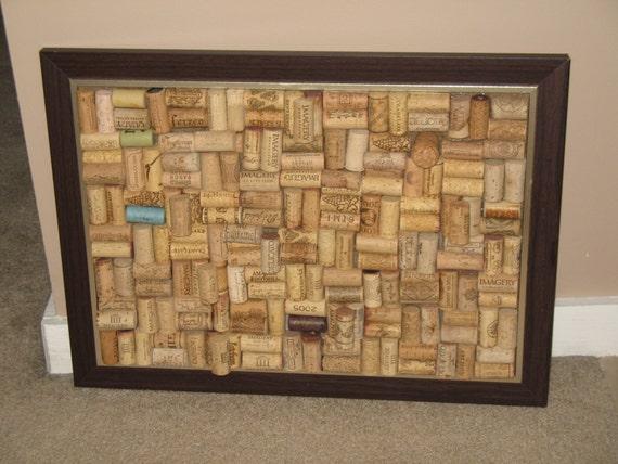 LAST ONE - Dark Brown and Silver Wine Cork Board