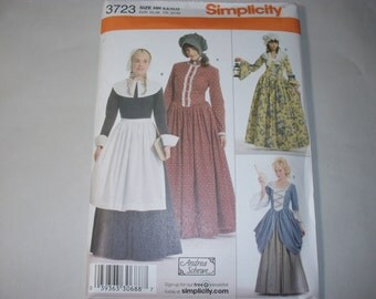 New Simplicity Misses'  Pioneer/Pilgram Costume Pattern 3723 (6,8,10,12)  (Free US Shipping)