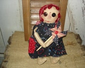 Independence Annie, Primitive, Rustic, Doll, Americana