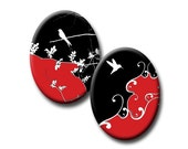 Nature on Red and Black - 40mm x 30mm ovals - (2) Digital collage sheets