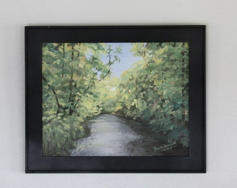 Original Painting, 11 X 14 inch Oil painting of a Creek, Stretched Canvas, Mill Creek Looking South, Painting, Black Frame Included