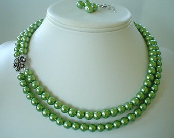 Two Strand Olive Green Pearl with Rhinestone Flower Pendant Beaded Necklace and Earring Set    Great Brides or Bridesmaid Gifts