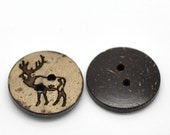10 Brown Coconut Shell Buttons 18mm -  Rustic Elk (BC619)
