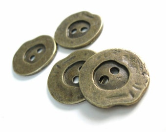 4 Antique bronze metal rustic sewing buttons 20mm  (BM300)