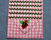 Vintage Gingham and Strawberry Envelopes - set of 5