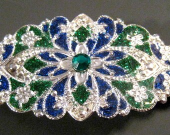 Hand Enameled Hair Ornament/Barrette in Green and Blue