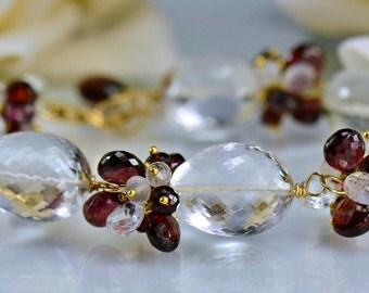 Rock Crystal Garnet  Moonstone Gemstone Bracelet, 14k Gold Filled Wire Wrapped Bracelet, Berries and Ice