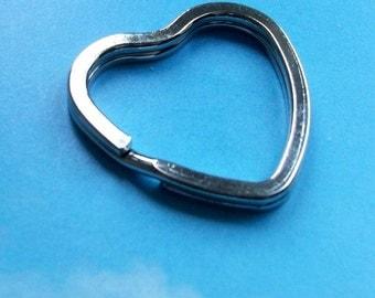 16 heart key rings, silver tone, 32mm