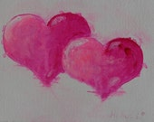 Original Painting - Two Entwined Pink Hearts -  Gift