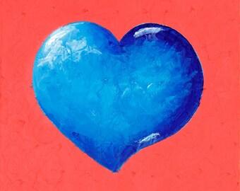 Blue Heart Painting, Pink Painting, Original Fine Art Canvas Painting - Infinite Love, Heart Art, Infinity Art, Gift for Her, art under 200