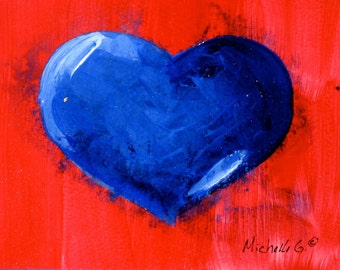Original Painting - Blue Heart on Red Background - Unique Valentine's Day Gift, Small Daily Painting