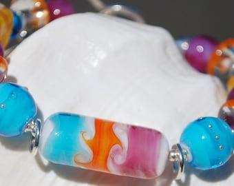 SURFIN' -Handmade Lampwork and Sterling Silver Bracelet