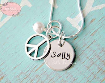 Personalized Hand Stamped Name Necklace with Silver Tone Peace Sign and Swarovski Pearl Charm