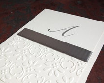 Elegant Gray Embossed Blank Notecards on White Handmade Stationery by Lime Green Rhinestones Personalized Monogrammed Stationary