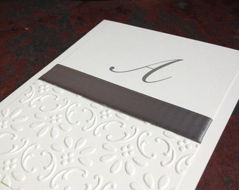 Elegant Gray Embossed Blank Notecards Handmade Personalized Stationery by Lime Green Rhinestones