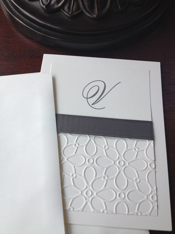 Fan image in embossed stationery