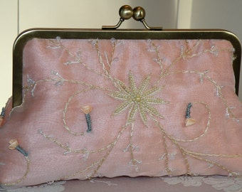 Silk Organza Pearls Clutch/Purse/Bag..Wedding/Garden Party..Hands Free Wrap to match..Blushing Bridal Peach..Free Monogram..Ready To Ship