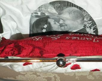 Bridal Clutch/Purse/Bag Personalized Photo Lining Custom Heirloom Gift..Bridesmaid/MOB..Silk..Long Island Wedding Bride Gift..Free Monogram