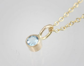 """Blue Topaz Drop Necklace in 14k Yellow Gold (16"""")"""