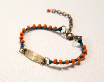 Feather & Moon Bracelet (teal, orange)