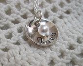 Domed Sterling Silver Necklace with Pearl Charm  Grandma Nana Grandmother