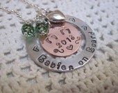 Mommy  of Twins Necklace - Babies on Board - New Mother of Twins Mixed Metal with Birthstones Choice of Sterling Silver Offered