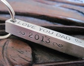 Personalized Custom Hand Stamped Bar Key Chain  1.5 Inches
