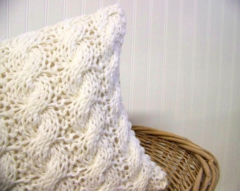 free shipping -cable knit pillow -warm winter white - cozy - snow