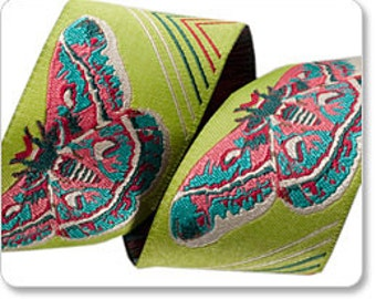 Lime Green Moths Moth Butterfly AM-15 Jacquard Ribbon by Anna Maria Horner 1 1/2 inch width (38 mm) - 1 yard