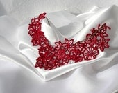 Valetine NECKLACE - Venice - Cherry Red - Wedding - Valentines Day Heart - Swarovski Crystals - Party- Embroidery Free Standing Lace
