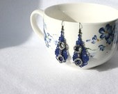 Thin Blue LIne EARRINGS - Chandelier Drop - Blue - Handcuff - Police - Freedom -  Free Standing Lace Embroidery