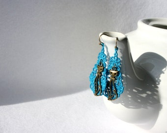 EARRINGS - Chandelier Drop - Azure Blue - Cat - Free Standing Lace Embroidery