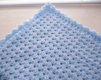 Crocheted Baby Blanket in the colour Blue with a Decorative Border