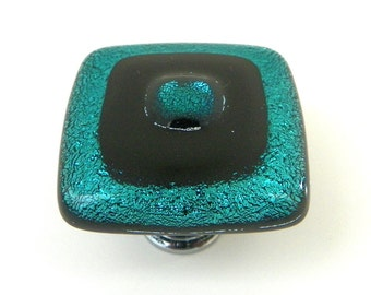 Teal Dichroic with Black Fused Glass Knobs - Custom Cabinet Hardware