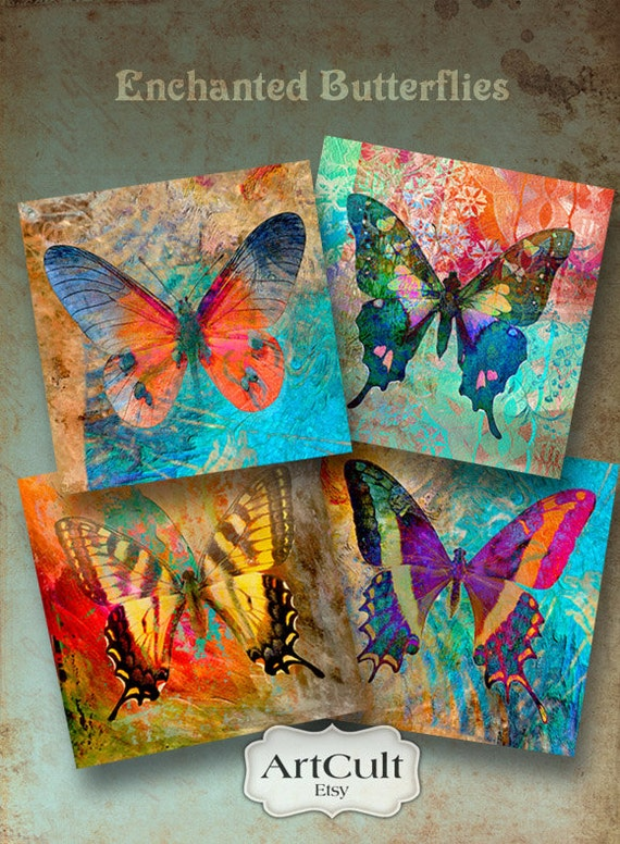Enchanted Butterflies Printable Digital Collage Sheet By