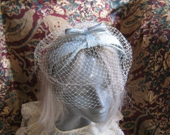 Vintage pale icy blue headband/hat, light blue halo hat with netting,  brides light blue halo hat with netting