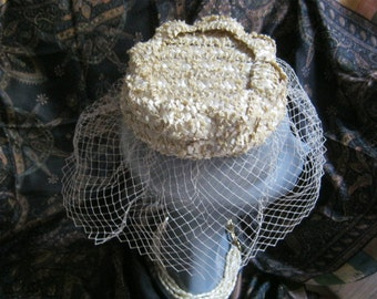 Vintage small natural woven pillbox with veil,  pearlized light taupe woven pillbox hat, natural woven fiber cap with netting, brides small