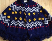 Vintage Girls Knit Navy Fringe Poncho