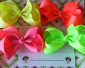 INVENTORY BLOWOUT SALE----Simple Large 4 Inch Hair Bow Lot----Neon