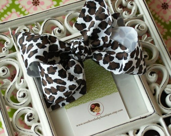 NEW ITEM------Boutique Large Hair Bow Clip-----Cheetah----Ready to Ship
