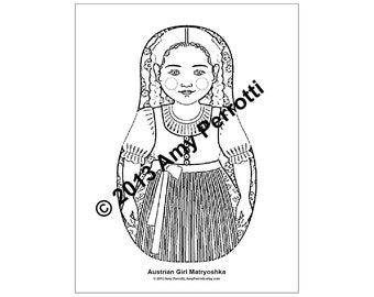 Austrian Girl Matryoshka Coloring sheet PDF