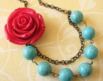 Beaded Necklace Flower Necklace Turquoise Jewelry Statement Necklace Bridesmaid Jewelry Red Rose Necklace