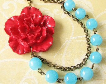 Flower Necklace Turquoise Jewelry Statement Necklace Aqua Jewelry Red Bib Necklace Gift Beaded Jewelry